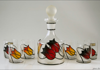 Hand-painted glass with metal